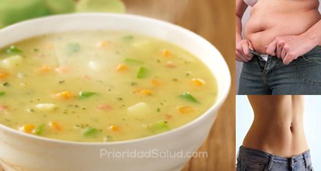 Sopa para bajar de peso ingredientes