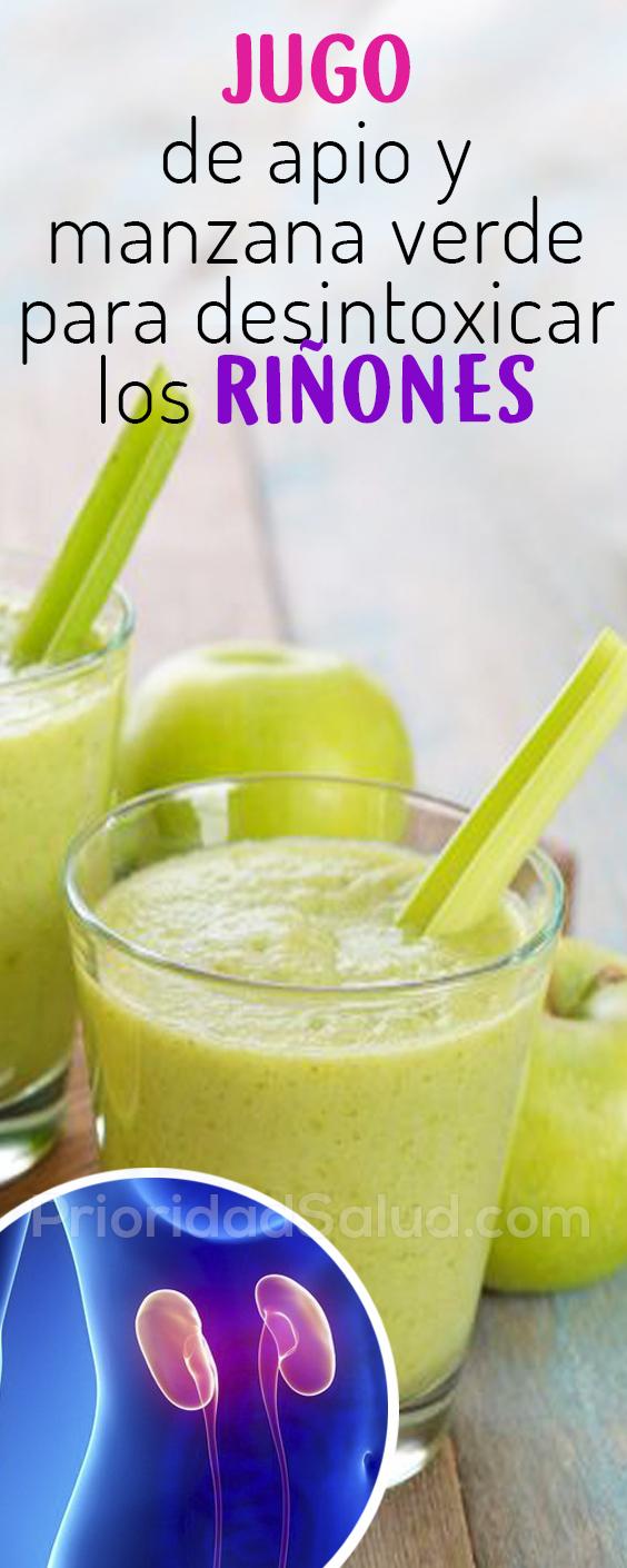 Jugo de apio y manzana verde para desintoxicar los riñones #psalud #jugos
